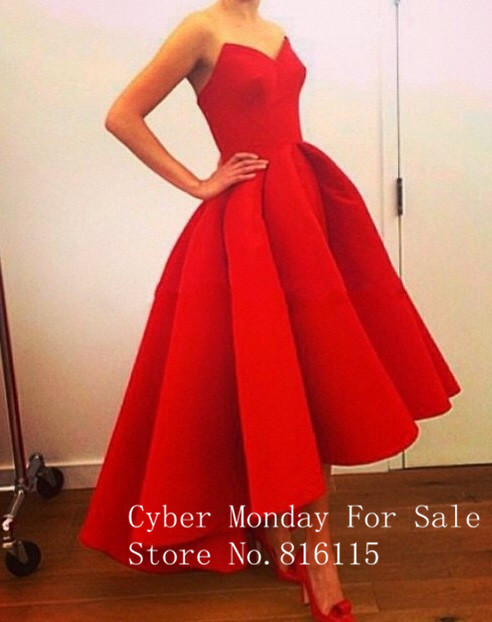 Свадебные платья Новый Милая Паффи Атласная Красный Привет-Ло Летом Myriam Fares Знаменитости Платья Горячие 2017 Великолепная Платье