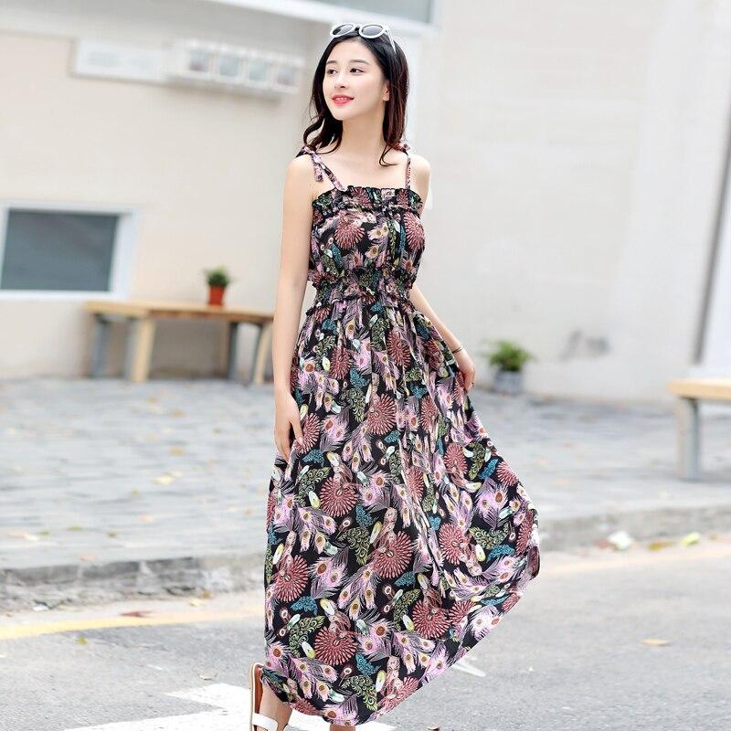 Új nyári spagetti pánt ruha középső borjú női alkalmi ruha - Női ruházat