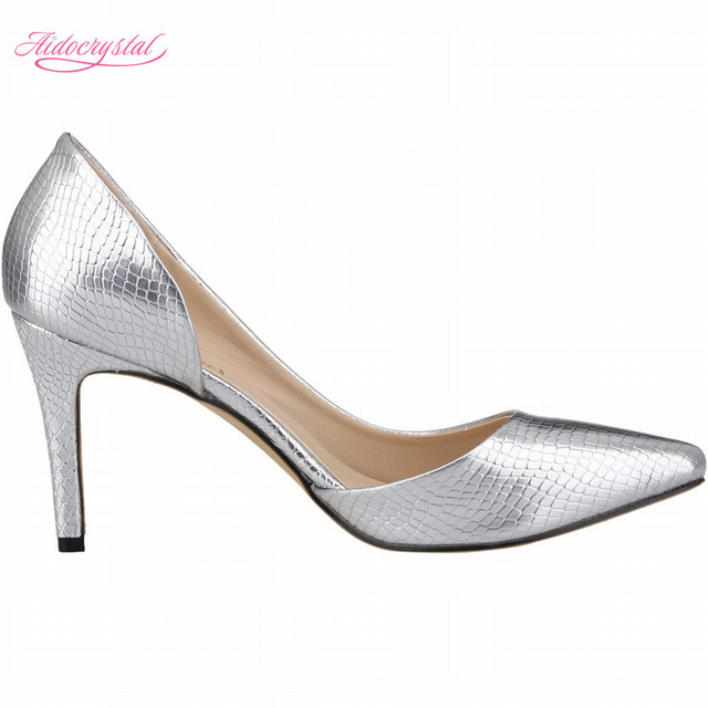 04f2b8fb03d Aidocrystal the new hot creative fashion women shoes silver pointed toe  mature high heels pu leather pumps elegant party shoes