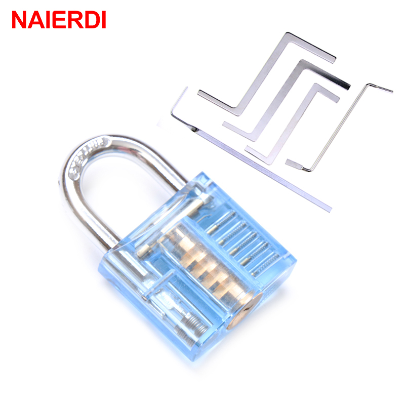 NAIERDI Mini Transparent Visible Pick Cutaway Practice Padlock Lock With Broken Key Remove Hook Extractor Locksmith Wrench Tool 30mm transparent visible pick cutaway practice padlock lock with broken key remove hook extractor set locksmith wrench tool