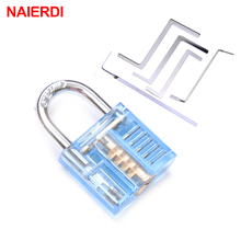 NAIERDI Mini Transparent Visible Pick Cutaway Practice Padlock Lock With Broken Key Remove Hook Extractor Locksmith Wrench Tool