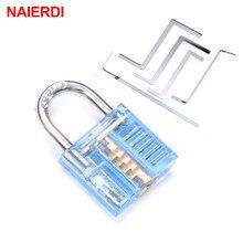 NAIERDI Mini Transparent Visible Pick coupe pratique cadenas serrure avec clé cassée enlever crochet extracteur serrurier clé outil