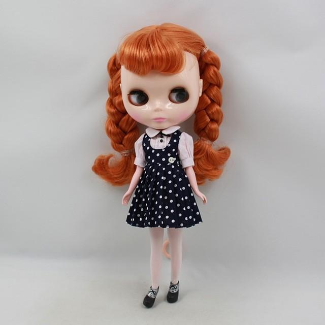 Neo Blythe Doll Spot Dress With Hat & Stocking