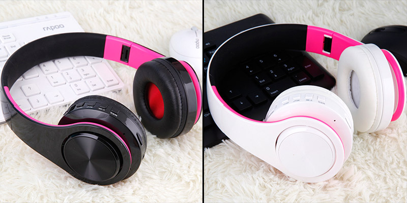 Foto of black and white colors from the top Wireless foldable headphones with mic. Foldable wireless earphones for mp3