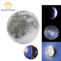 BRIGHTINWD Healing Moon Lamp LED Wall Night Light Remote Control White Light Kids Xmas Gift