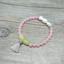 Youga 6mm Rose stone Natural Stone Beads and Real Pearl Beaded Bracelets Lemon Tassel Crafted Bohemian Women
