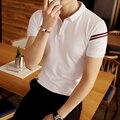 Polo informal camisa a rayas de los hombres jóvenes de moda de gran tamaño polo sólido color delgado masculino camisa de polo de manga corta de verano 2017 4xl 5xl