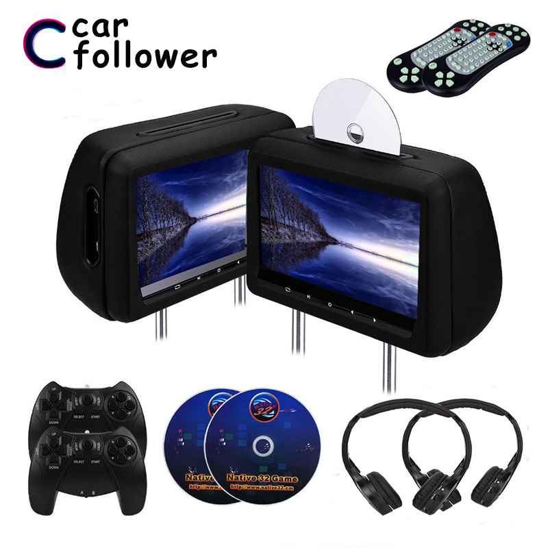 2PCS 10.1 Inch Head Restraints With Monitor Car DVD Player MP5 FM/IR Transmitter/USB/SD/Wireless Game/HDMI/Game Monitors