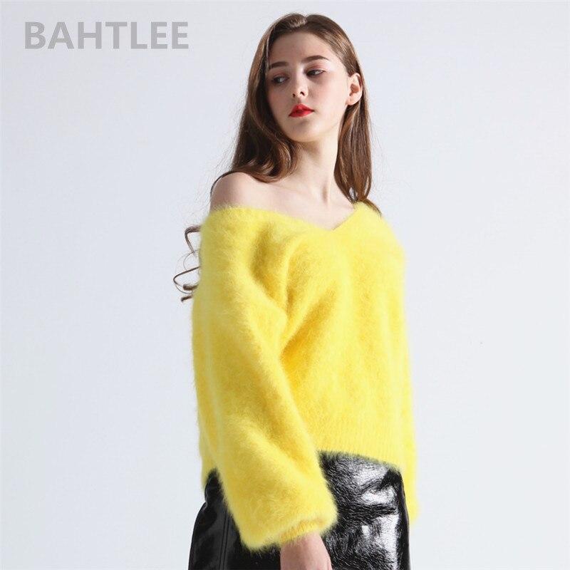 BAHTLEE Jumper de coelho angorá camisola de Decote Em V manga lanterna das mulheres de inverno mink cashmere pullovers de malha manter aquecido grosso solto