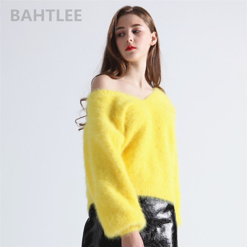 BAHTLEE Winter Women's Angora Rabbit Jumper Sweater V-neck Lantern Sleeve Mink Cashmere Knitted Pullovers Keep Warm Thick Loose