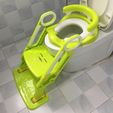 Soft Base Plastic Children's Toilet Baby Toilet Training Folding Potty Ladder Toilet Seat Toilet Bowl Step Stool with Backrest(China)