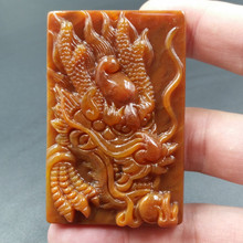 TJP natural china HUANGLONG jade beige carved lucky dragon pendant with certificate necklace Fine Jewelry