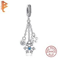 Original 925 Sterling Silver Bead Clear CZ Tassel Snowflake Dangle Charms Fit Original Pandora Bracelet Necklace Fashion Jewelry