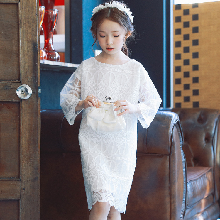 Cotton Lace Girls Dress Kids 2018 Spring New Children Clothing Kids Clothes White Lace Princess Korean Cute Thin Dress Size 3-14 2016 new girls clothes 100% cotton cute pink gray lace dress for the girl princess dress art bowknot sleeveless dress
