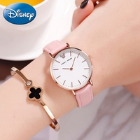 Disney Mickey Woman Leather Band Japan Quartz Watch Women Round Luxury Rhinestone Water Resistant Simple Wristwatch Girl Clocks