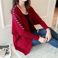 Yeni Moda Kadın Gömlek Batwing Kol Gevşek Örgü Geri Hat Kazak Bluz Gömlek Mor Sarı Siyah Pirinç Beyaz 729