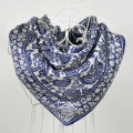 90*90cm White And Blue 100% Mulberry Big Square Silk Scarves Printed,Fashion Hot Sale 100% Silk Crepe Satin Scarf Shawl