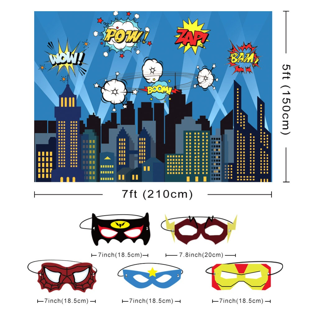 Image 3 - OurWarm Superhero Party Photography Backdrop Birthday Party Wall background With Mask Gifts For Kids Birthday Party Decoration-in Party Backdrops from Home & Garden