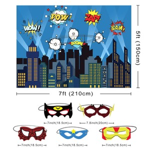 Image 3 - OurWarm Superhero Party Photography Backdrop Birthday Party Wall background With Mask Gifts For Kids Birthday Party Decoration