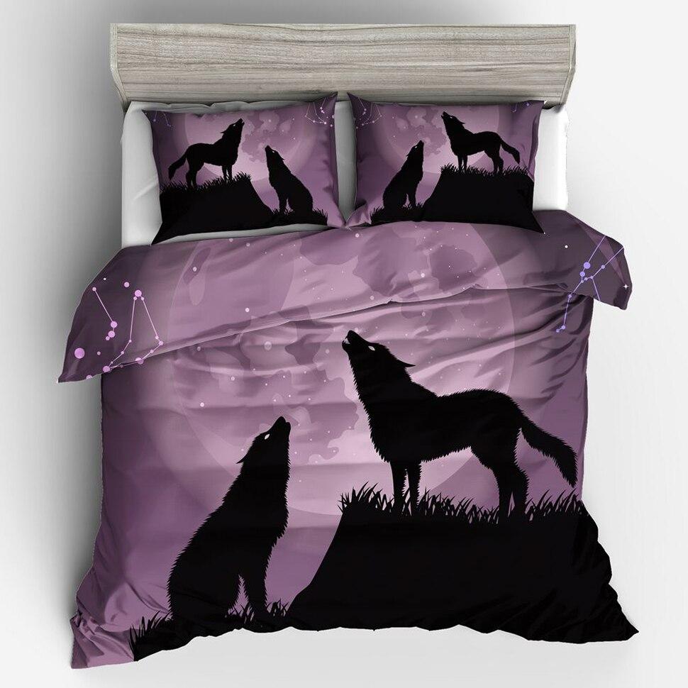 Постельный комплект для взрослых комплект из 3 предметов в клетку Мальчик Дети Стёганое одеяло подушку обложка 3D волк постельные принадлеж... ...