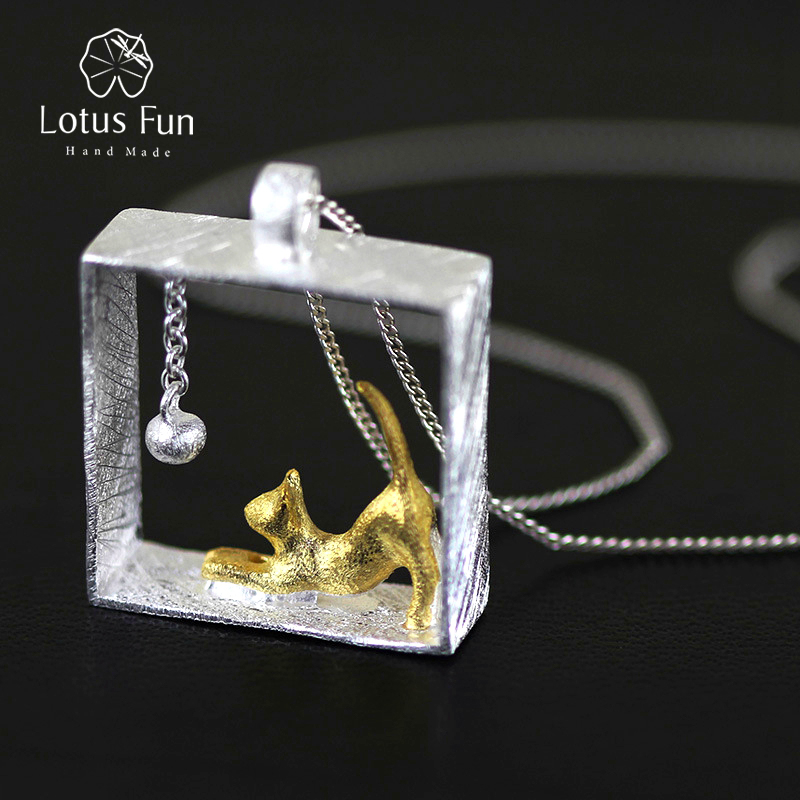 Lotus Fun Cat Playing Balls Pendant without Necklace Real 925 Sterling Silver Handmade Designer Fine Jewelry Fashion for Women the new cat cat 925 sterling silver garnet necklace pendant jewelry wholesale brand ethnic fashion