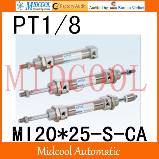 MI Series ISO6432 Stainless Steel Mini Cylinder  MI20*25-S-CA  bore 20mm port PT1/8 купить в екатеринбурге переходник mini iso
