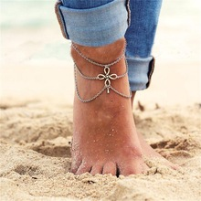 American Jewelry retro folk style Chinese knot tassel drop Anklets wholesale manufacturers multilayer Ms.