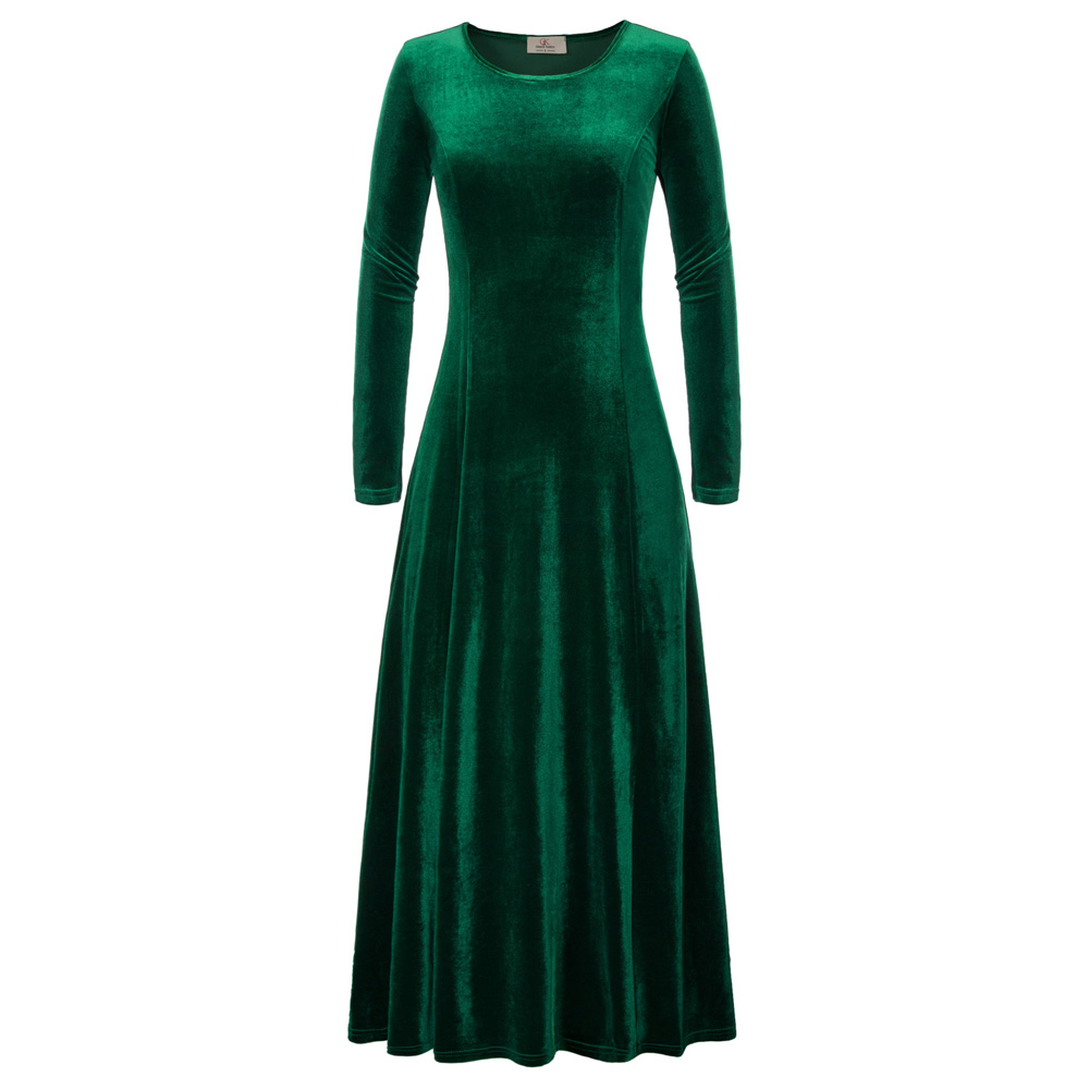 Womens Velvet Dresses Winter Autumn Long Sleeve Dark Green Black Party Long Maxi Dress Plus Size