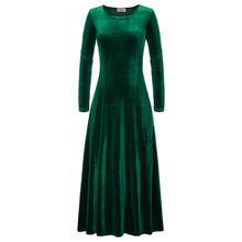 Womens Velvet Dresses Winter Autumn Long Sleeve Dark Green Black Party Long Maxi Dress Plus Size Robe Christmas Runway Vestidos