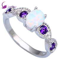 Fashion Opal Wedding Rings Purple Topaz Rings For Teen Girls White Fire Opal Silver Size 5
