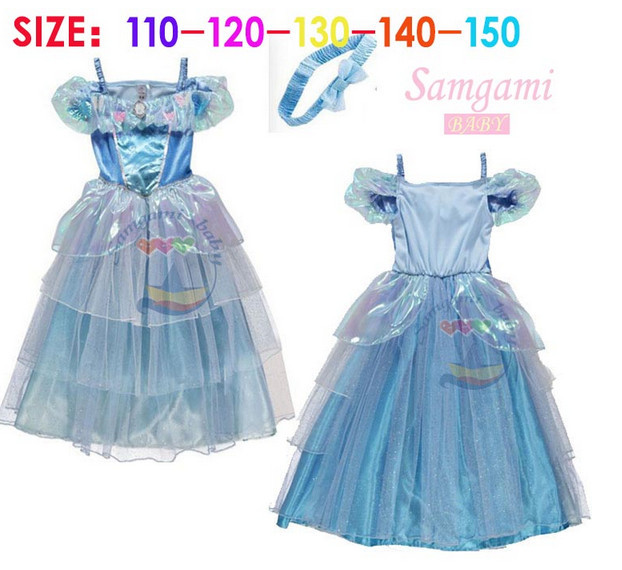 2015 Newest Cinderella Dress headband 2 piece set Kids Children Cosplay Costume Girls Princess Fancy Dresses - shuang wang's store