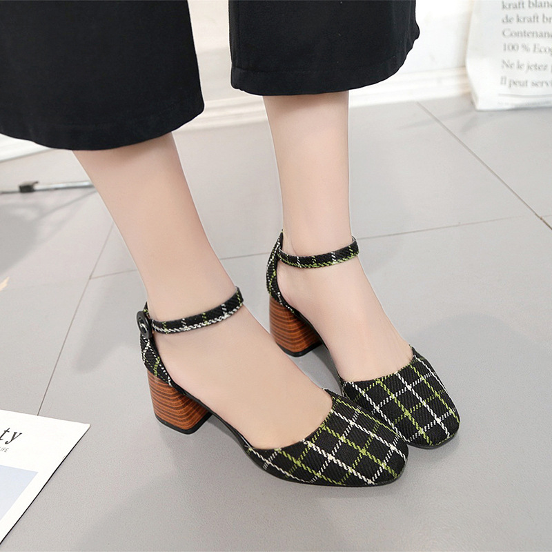 High Heels Shoes Women Pumps Square Toe Summer Sandals Thick Heels Plaid Casual Good Quality Female Office Shoes Comfortable 5