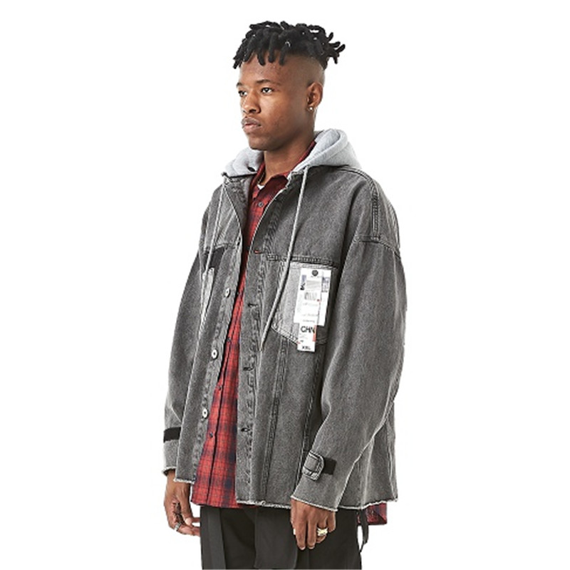 Spring Autumn Casual Hooded Coat Men Detachable Hat Denim Jacket Male Streetwear Hip Hop Wash Jeans Jacket Outerwear