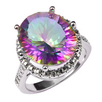 Factory price Huge Rose Rainbow Crystal Zircon 925 Sterling Silver Charming Ring For Women Size 6 7 8 9 10 11 F1463