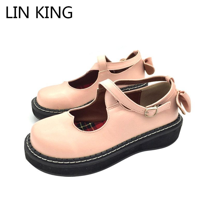 LIN KING New Retro Wedges Women Pumps Sweet Bowtie Lolita Shoes Fashion Buckle Platform Boots Thick Sole Cosplay Party Shoes lin king new women pumps round toe solid thick square medium heel buckle lolita shoes ankle strap party platform shoes big size page 7
