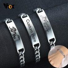 Vnox Personalized Bracelets for Women Men Never Fade Stainless Steel Link Chain Bracelet Custom Family BFF Birthday Gift