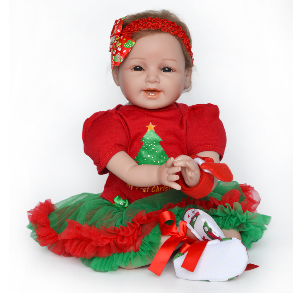 Image 5 - 55cm Realistic Reborn Baby Doll Soft Silicone Stuffed Lifelike Baby Doll Toy Ethnic Doll For Kids Birthday Christmas Gifts-in Dolls from Toys & Hobbies
