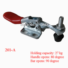 5PCS Solid Bar Flanged Base Horizontal Toggle Clamp 201A Holding Capacity 27KG 60LBS