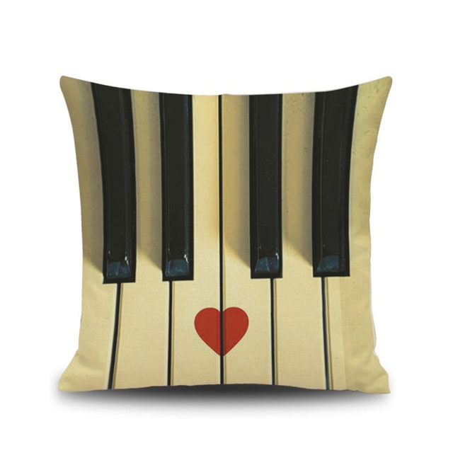 music letters notes piano black white pattern pillow case cushion cover car chair office home hotel coffee shop decoration gift