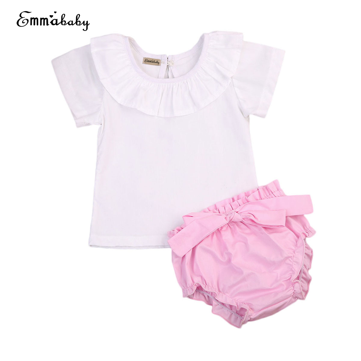 Emmababy Baby Girls Cloth Set 0-24M Sweet Newborn Baby Girls Clothes Short Sleeve T-shirt+Bowknot Shorts 2PCS Outfits Clothes ...