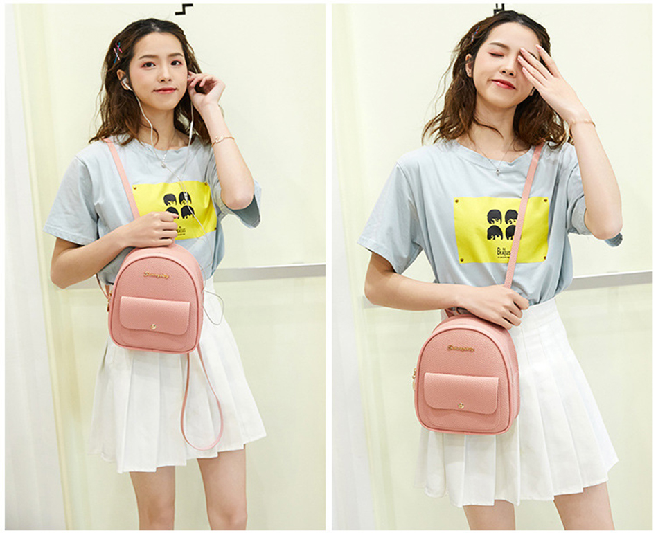 HTB16OIPXBCw3KVjSZFuq6AAOpXaG 2019 Mini Backpack Women Korean Style PU Leather Shoulder Bag For Teenage Girls Multi-Function Small Bagpack Female Phone Pouch