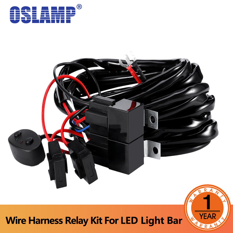 Oslamp 2.4M Car LED Light Bar Wire Wiring Harness Relay Loom Cable Kit Fuse for Auto Driving Offroad Led Work Lamp DC 12v 24v