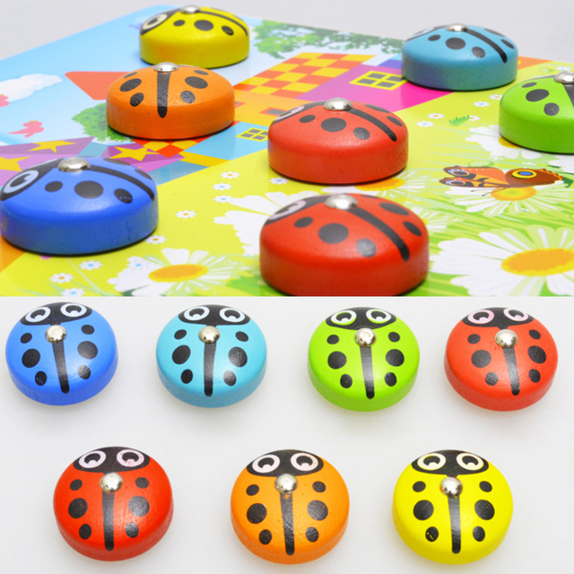 Kids Fishing Toys Children Magnetic Fishing Game Toys Wooden Magnetic 3D Beetle Parent-child Toys Baby Outdoor Fun