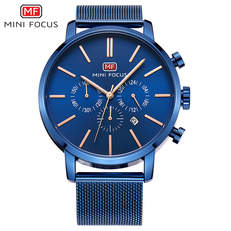 Top Brand Luxury Chronograph Men Sports Watches Stainless Steel Quartz Watch Men Army Military Wrist Watch Male MINI FOCUS Clock top brand luxury men watches 30m waterproof japan quartz sports watch men stainless steel clock male casual military wrist watch