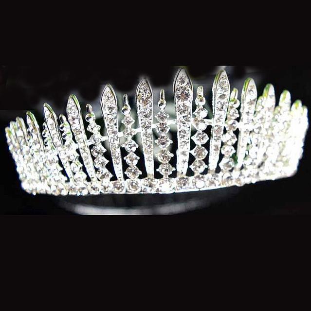 Ocidental Barroco Do Vintage Acessórios Para o Cabelo de Prata de Cristal Cheio de Strass Grande Coroas Tiaras de Casamento Nupcial Princesa Rainha do baile de Finalistas