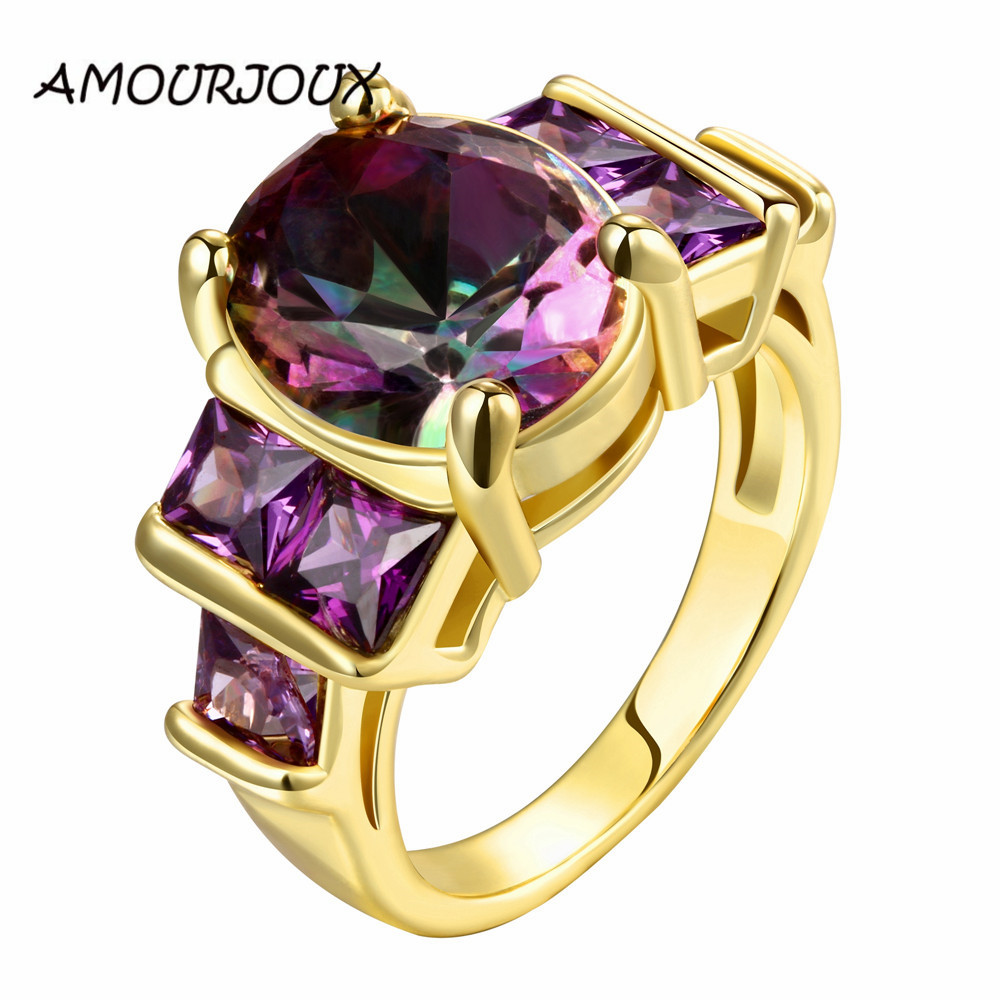 2017 Rose Gold Round Purple CZ filled Rings For Women High Quality Antiallergic Wedding Engagement Ring Christmas G