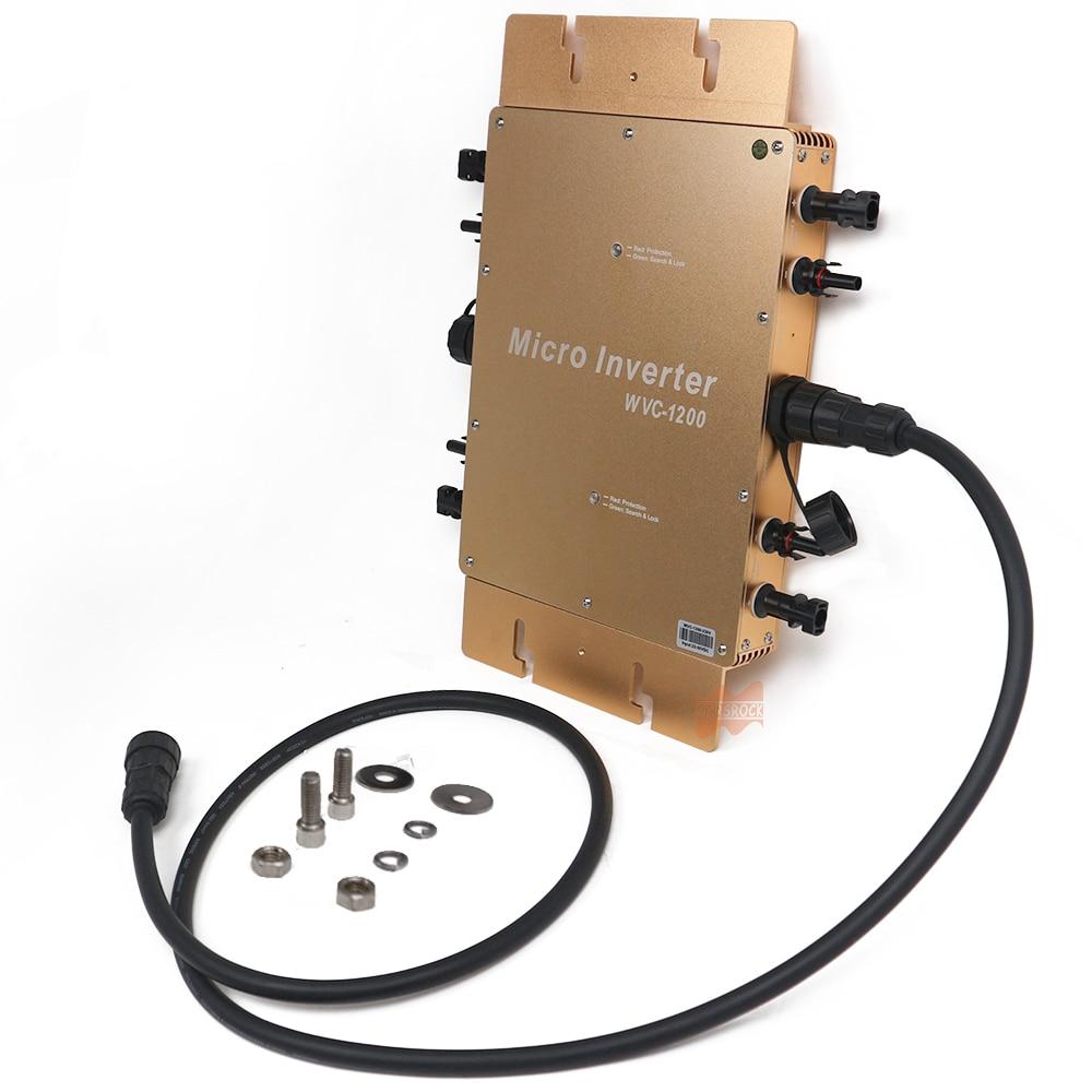 Wasserdicht IP65 MPPT 1200W Smart Grid Tie Solar Inverter DC 22-50V zu 80-160VAC oder 180-260VAC, 50 hz/60 hz, max für 1400W panels
