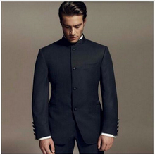 Latest Designs Bruce Lee Style Groom suits Tuxedos black Mandarin collar Men Wedding suits Dinner Su