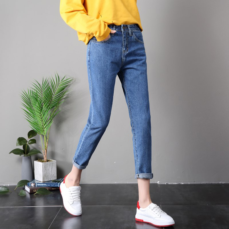 High Quality 2019 Boyfriend Ladies High Waist   Jeans   woman Pants Pencil Mom   Jeans   For Women winter Long pants Plus Size 25-34