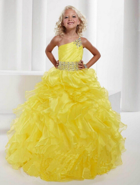 Ball Gowns One Shoulder Organza Crystal Beaded Junior Flower Dresses Gorgeous Yellow Grape Kids S